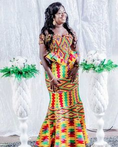 Kente Fabric Designs: See These Kente Styles For Fashionable Ladies - Lab Africa African Party Dresses, African Wedding Attire, Latest African Fashion Dresses, African Print Dresses, African Print Fashion, African Attire, African Dress, African Lace, African Style