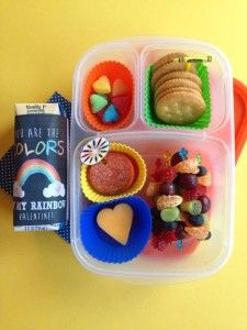 You're the colors of my rainbow, Valentine!  Homemade lunchable with pepperoni, heart shape cheese, crackers, mini fruit kebabs, and rainbow hearts by Dreams, Schemes, and Bento Themes