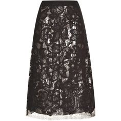 Tome Lace Skirt With Silver Silk Lame Lining (1,550 CAD) ❤ liked on Polyvore featuring skirts, tome, high waisted skirts, high waisted knee length skirt, floral print skirt and high waisted a line skirt