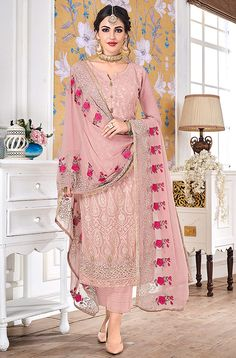 Pink Georgette Embroidered Churidar Suits Hurma VOL 15 1081 By Eba Lifestyle Pakistani Dress Design, Pakistani Dresses, Indian Dresses, Indian Outfits, Pakistani Suits, Indian Clothes, Designer Punjabi Suits, Indian Designer Wear, Party Wear Dresses