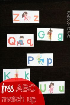 Awesome ABC game for kids! Free superhero upper and lowercase match up.