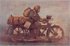 In the days before portable and reliable radio sets, motorcycle couriers (or 'dispatch riders') were often the fastest way of moving messages to and from the battlefield, especially when laying telephone or telegraph lines was impossible. This 1917 painting of a courier with his mechanical mount is by Inglis Sheldon-Williams...