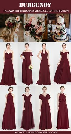 Fall Wedding Idea for Bridesmaid Dresses, Burgundy Bridesmaid Dress for Fall Wedding, Winter Wedding Color, Burgundy Bridesmaid Dresses Long, Red Bridesmaids, Bridesmaid Dress Styles, Wedding Dresses For Bridesmaids, Burgundy Dress, Bridesmaid Proposal, Bridesmaid Hair, Make Up Braut, Maid Of Honour Dresses
