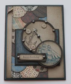 A Man Card....  I used the stamp set Open Sea and the Well Worn DSP.  To create the background I punched out a whack of circles from the paper, layered them and adhered them to a layer of cardstock.    I used the circle scissors plus to create the circle border on the compass.  The brads are from the spinner hands.  The colours on this card are Early Espresso, Not Quite Navy, and Crumb Cake.