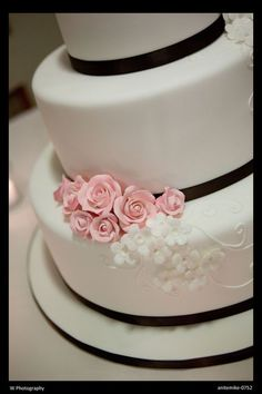 Pale pink and black cake