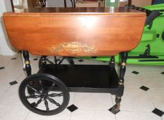 old Hitchcock drop sides tea cart stencil decorated CT black and wood finish #Hitchcock