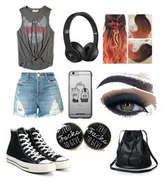 """""""casual"""" by baillie-braden on Polyvore featuring Hollister Co., J Brand, Converse, Beats by Dr. Dre and Too Faced Cosmetics"""