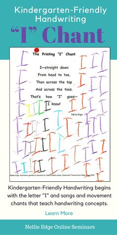 "Children memorize, recite, and illustrate handwriting ""I can read"" pages. To download the ""I"" Chant and other handwriting pages, see Kindergarten-Friendly Handwriting at neellieedge.com. View a proven, multisensory approach for kindergarten handwriting. Handwriting practice is woven into authentic writing experiences that have meaning to the child—not isolated drill."
