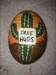 Cactus free hugs painted rock