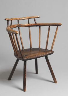 Rare primitive 'horseshoe' form stick Windsor chair,  fruitwood, ash and oak,  English circa 1750