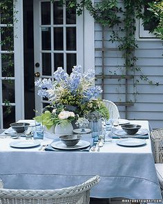 Pretty lunch or dinner on the patio, with flowers picked from your garden...or picked up at the grocery store