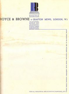 Headed notepaper for Royce & Browne, London, 1935 - designed by Edward McKnight Kauffer
