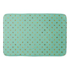 Chic Gold Glam and Mint Dots bath mat