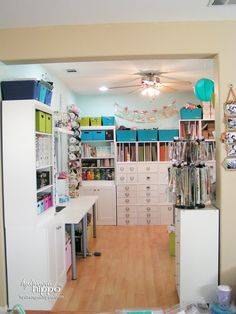 A Tour of My Scraproom - Smart Fun DIY. Take a tour of Jennifer Priest's Scraproom! This scrapbook room has loads of ideas for organizng supplies by color in a small space. Scrapbook Room Organization, Scrapbook Storage, Scrapbook Rooms, Craft Organization, Scrapbook Photos, Space Crafts, Home Crafts, Craft Space, Craft Room Storage