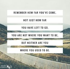 Remember how far you've come :: Seeking Progress not Perfection Words Quotes, Wise Words, Me Quotes, Sayings, Qoutes, Health Quotes, Fitness Quotes, Progress Quotes, Progress Not Perfection