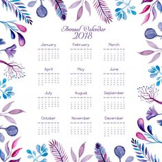 Watercolor blue and pink floral calendar 2018 Free Vector 2018 Printable Calendar, Printable Calendar Template, Journal Template, Yearly Calendar, Free Printables, Calendrier Diy, January Calendar, Study Planner, Floral