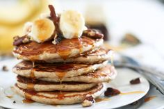 I'm so badly craving a stack of these Banana Buttermilk Pancakes right now! @thehealthyfoodie.com