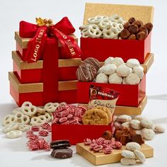 Make your dream a reality with this Shimmering Sweets Tower gift set! French Chocolate, White Chocolate Raspberry, Corporate Gift Baskets, Corporate Gifts, White Chocolate Covered Pretzels, Chocolate Truffles, Butter Sugar Cookies, Raspberry Cookies, Themed Gift Baskets