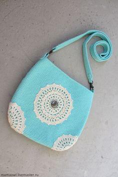 Купить Восточная - бирюзовый, летняя сумочка, вязаная сумочка, восточный, яркий, хлопок 100%, лето
