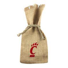 """Cincinnati"" 1 Bottle Burlap Tote"