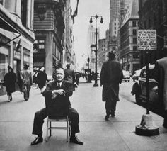 NYC. The great german artist Georg Grosz at Fifth Avenue, 1948 during his stay in New York  //  photo by Stanley Kubrick