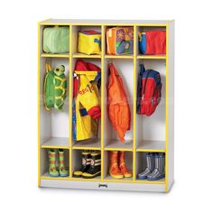 Colorful Kids Coat Lockers with Dual Cubbies: Perfect for child care and day care centers, elementary schools, preschools or even in your home! Come with dual cubbies to stow away backpacks, boots, jackets and lunch boxes. Packed with features that make them affordable, functional and safe! #lockers #kidslockers #coatlockers