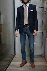 jeans-navy-jacket-men-style-fashion Pelletier Navy to match the girls dresses.I like the jeans idea for the guys Blazer Jeans, Suit Jacket With Jeans, Navy Blazer Men, Blue Suit Jacket, Jacket Men, Blazer Outfits, Mature Mens Fashion, Mens Fashion Blog, Men's Fashion