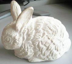 Vintage Ceramic Bisque Garden Bunny/Rabbit by naturepoet on Etsy, $8.00