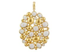 """Large Amulet Pave mosaic pendant in 24K gold with 2 ctw of pave diamonds set in 18K white gold. 2 7/8"""" tall. Hollow."""