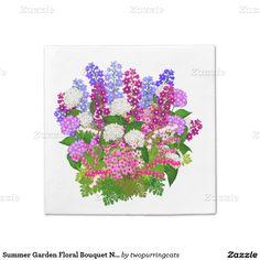 Summer Garden Floral Bouquet Napkins Standard Cocktail Napkin