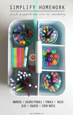 Keep homework supplies at the ready with this simple supply caddy.