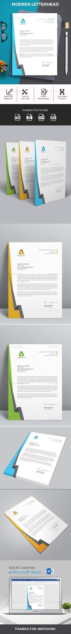 Buy Letterhead Word by telaarte on GraphicRiver. Letterhead Word Template with super modern and Corporate look. Corporate Letterhead page designs are very easy to use. Free Letterhead Templates, Letterhead Design, Company Letterhead Template, Design Templates, A4 Paper, Paper Size, Change Image, Page Design, Photoshop