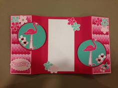 Flamingo Lingo stamp set, Sweet Taffy DSP; inside of card; flamingos are embossed in Melon Mambo