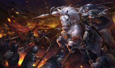 General Ma-Chao attacking against Cao Cao's troops, War of the Three Kingdoms, Ancient China