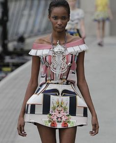 """The collection by Mary Katrantzou, inspired by the Surrealist painter, René Magritte, was called """"Ceci n'est pas une chamber""""."""