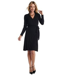 Wrap Dress: Available in Black. The iconic wrap dress in our rich jersey is a must have in your closet Functional wrap 3/4 sleeves Banded detail along neckline Wear over one of our slips and you will feel confident inside and out Flattering on all body types