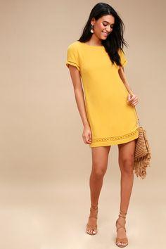 c2b33b8a63f Perfect Time Mustard Yellow Shift Dress