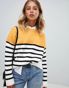 851970f141b3a7 New Look sweater in color block stripe