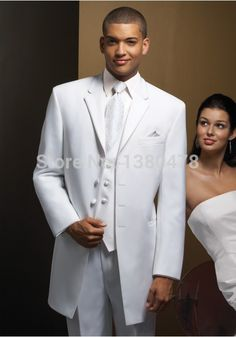 jacket+pants+tie+vest Custom Made White Groom Tuxedos Two Buttons Best Man Notch Lapel Groomsman Men Wedding Vivid And Great In Style