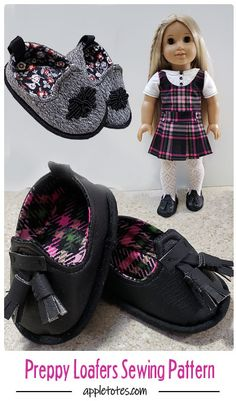 Preppy Loafers premium sewing pattern from Appletotes & Co. These adorable loafers are sized to fit 18 inch dolls like American Girl and Our Generation. With easy construction and minimal sewing, you'll have new shoes for you doll in no time at all! Baby Doll Shoes, Boy Doll Clothes, American Doll Clothes, Barbie Clothes, American Girl Crochet, American Girl Diy, Doll Shoe Patterns, Sewing Patterns Girls, 18 Inch Boy Doll