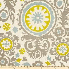 Fabric Suzani Summerland Premier Prints grey blue green natural Home Decor Fabric by the Yard  - 1 yard or more - SHIPS FAST