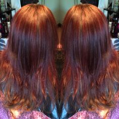 Red and brown hair color mix for some warm dimension!!#hair#kayshairr