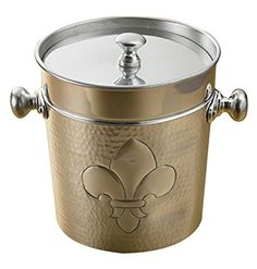 Best Kictchen Rugs | KINDWER Dimpled Aluminum Fleur de Lis Ice Bucket Silver >>> You can get more details by clicking on the image. Note:It is Affiliate Link to Amazon. #success