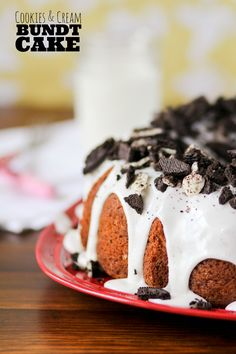 This Cookies and Cream Bundt Cake is loaded with chocolate cookies in the filling and piled high on top!