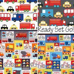 Ready Set Go 2 Fabric by Ann Kelle for Robert Kaufman Retro Taxi Ambulance  Cars on Gray Grey