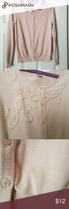 Sweet embroidered cardigan Beautiful cardigan with intricate embroidery details across the front yoke. It has the slightest mall pink stain towards the bottom. I tried to capture it in the 3rd photo. Downeast Sweaters Cardigans