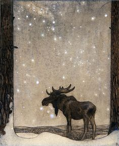 John Bauer (June 4, 1882 – November 20, 1918), Swedish painter and illustrator, love this guys art. John Bauer, Troll, Fairy Tales, Printmaking, Fantasy Art, Street Art, Moose Art, Book Illustration, Artsy