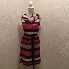 MSK lovely striped dress size 8 P MSK lovely vertical striped dress with lovely jewel toned colors and draped neckline. New with tags. Dress is a size 8 Petite. MSK Dresses Midi