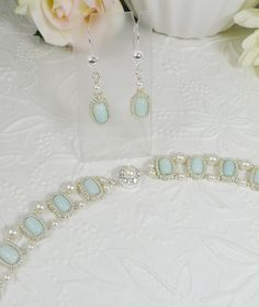 Woven Necklace and Earrings Silver and Amazonite by IndulgedGirl