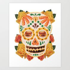 Dia De Los Muertos Hamburger and Bacon Skull collage for Day of the Dead Art Print by Melissa Gable